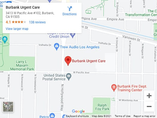 Directions to Urgent Care in Burbank, CA on 3413 W Pacific Ave #102, 91505